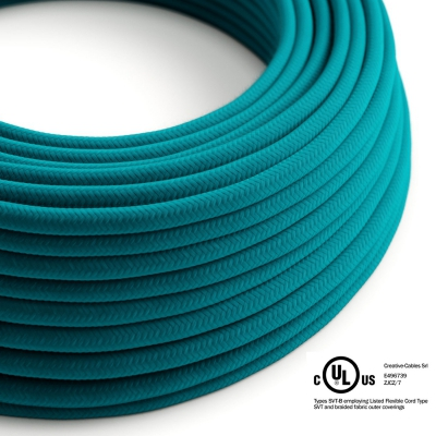 Petrol blue Cotton covered Round electric cable - RC21