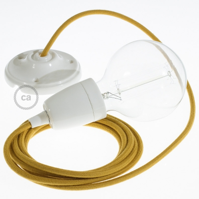 Porcelain Pendant, suspended lamp with Mustard Cotton textile cable RC31
