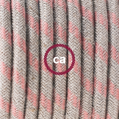 Porcelain Pendant, suspended lamp with Natural & Pink Linen Stripe textile cable RD51
