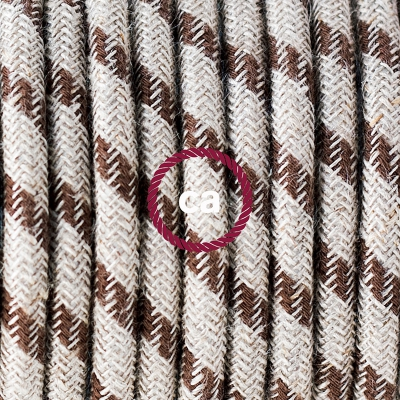 Porcelain Pendant, suspended lamp with Natural & Brown Linen Stripe textile cable RD53
