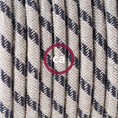 Porcelain Pendant, suspended lamp with Natural & Charcoal Linen Stripe textile cable RD54