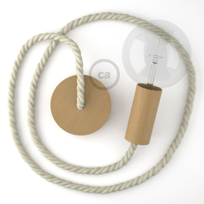Wooden Pendant, suspended lamp with nautical rope XL in raw cotton, Made in Italy