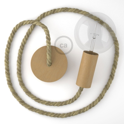 Wooden Pendant, suspended lamp with nautical rope XL in raw jute, Made in Italy
