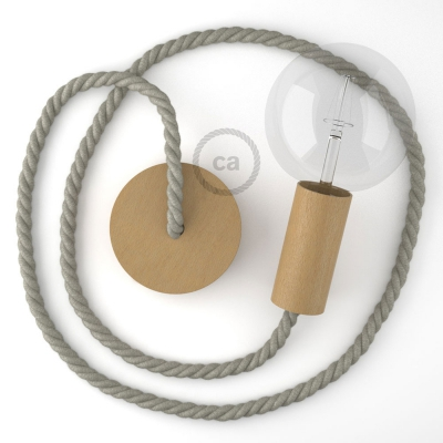 Wooden Pendant, suspended lamp with nautical rope XL in natural linen, Made in Italy