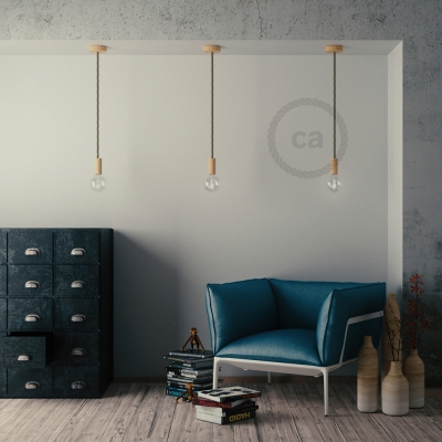 Wooden Pendant | XL Nautical Rope in Natural Linen [Made in Italy]