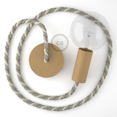 Wooden Pendant | XL Nautical Rope in Raw Cotton & Natural Linen [Made in Italy]