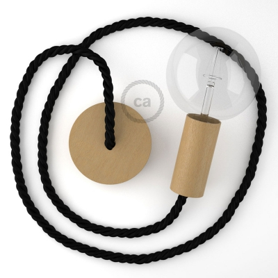 Wooden Pendant | XL Nautical Rope in Black [Made in Italy]