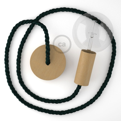 Wooden Pendant | XL Nautical Rope in Dark Green [Made in Italy]