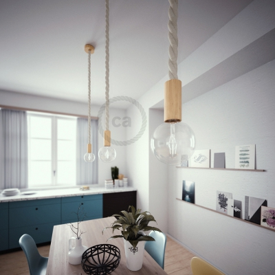 Wooden Pendant, suspended lamp with nautical rope 3XL in raw cotton, Made in Italy