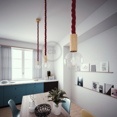Wooden Pendant, suspended lamp with nautical rope 3XL in dark burgundy fabric, Made in Italy