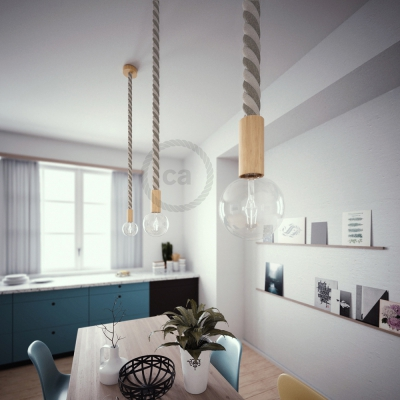 Wooden Pendant, suspended lamp with nautical rope 3XL in raw cotton and natural linen, Made in Italy