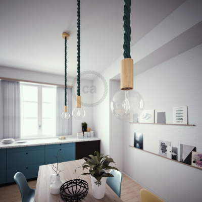 Wooden Pendant, suspended lamp with nautical rope 3XL in dark shiny green, Made in Italy