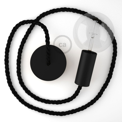 Black painted wooden pendant lamp with nautical rope XL in black shiny fabric, Made in Italy