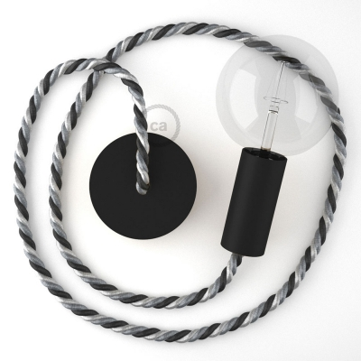 Black painted wooden pendant lamp with nautical rope XL in bright fabric Orleans, Made in Italy