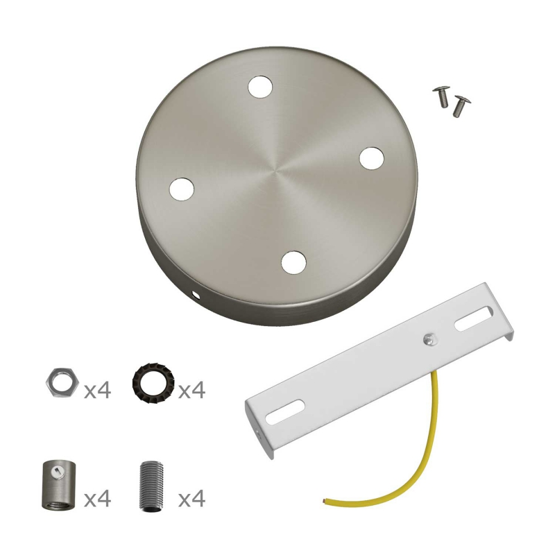 Classic 4-hole Round Metal Ceiling Canopy Kit