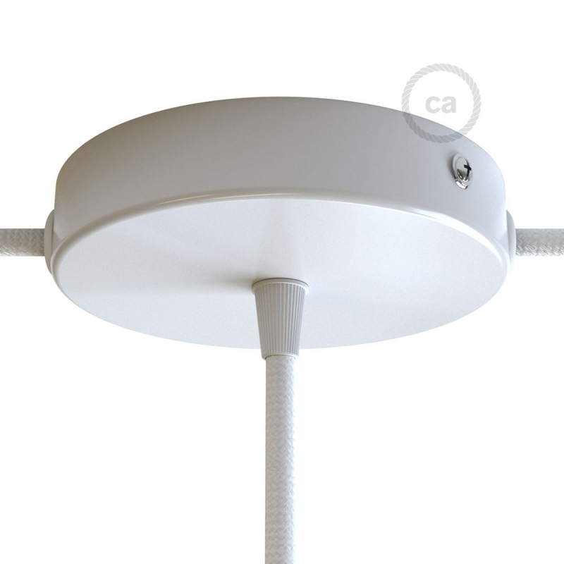 Classic 2 Side Hole Round Metal Ceiling Canopy Kit - Center hole & 2 side holes