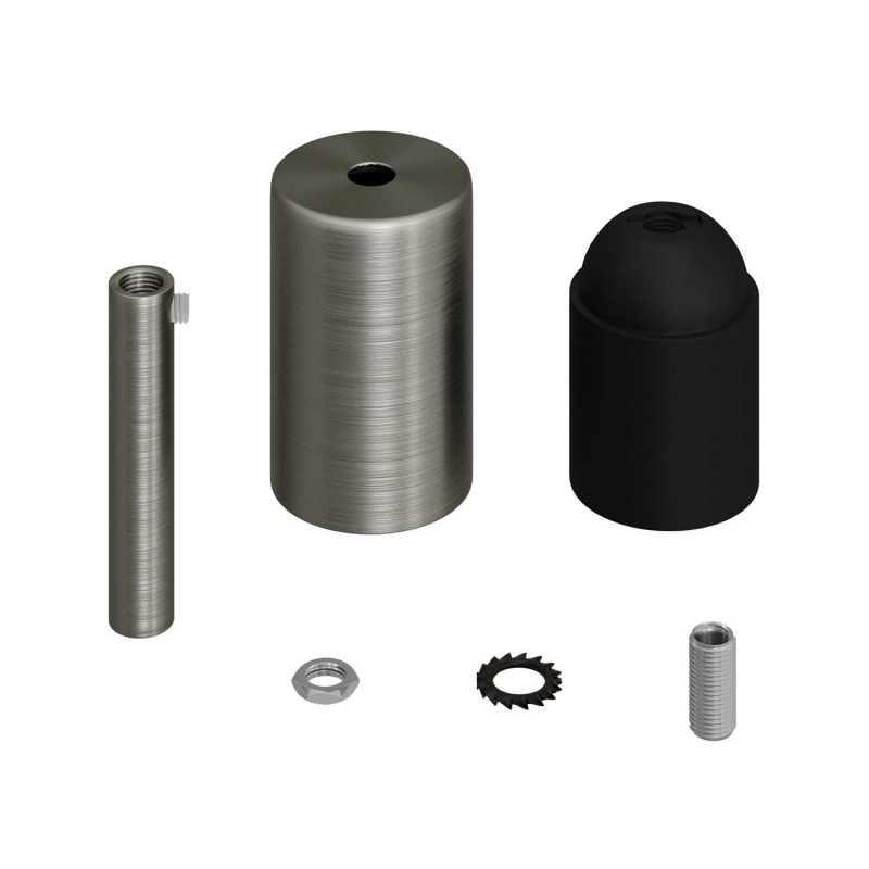 Cylindrical metal UL E26 socket kit with 7 cm cable clamp