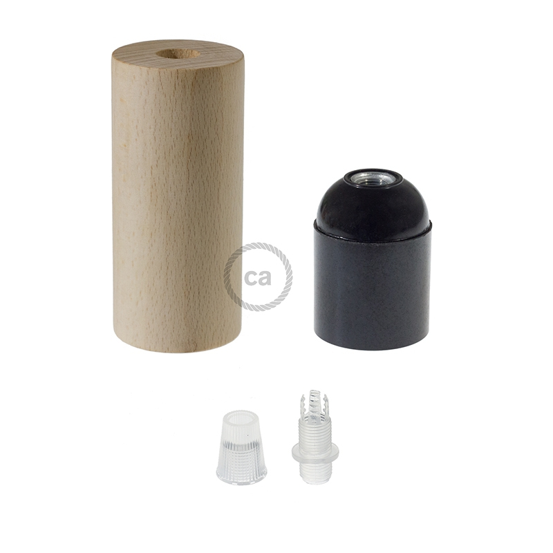 XL Wooden light bulb socket kit - For XL Rope Cables - E26