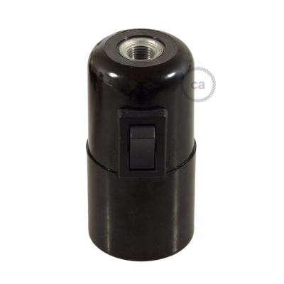Smooth Sided Bakelite Phenolic socket - ON/OFF SWITCH - E26
