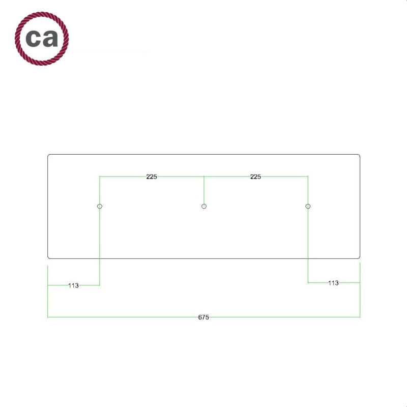 3 hole in line - EXTRA LARGE Rectangular Ceiling Canopy Kit - Rose One System, 675 x 225 mm Cover