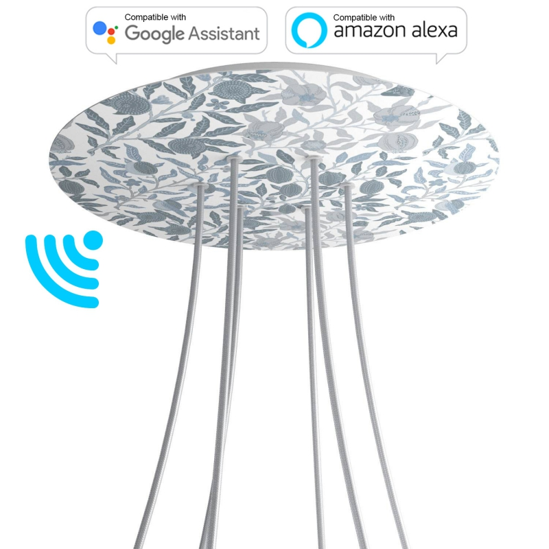 Large Round Smart ceiling canopy, 400 mm Cover Rose-One with 6 holes - compatible with voice assistants