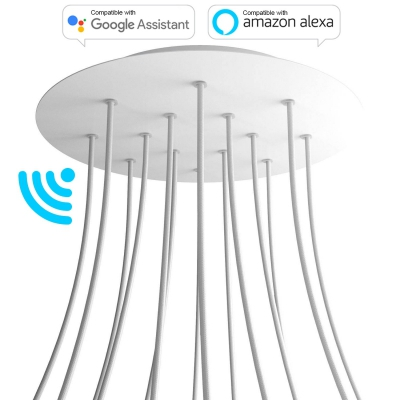 Large Round Smart ceiling canopy, 400 mm Cover Rose-One with 14 holes - compatible with voice assistants