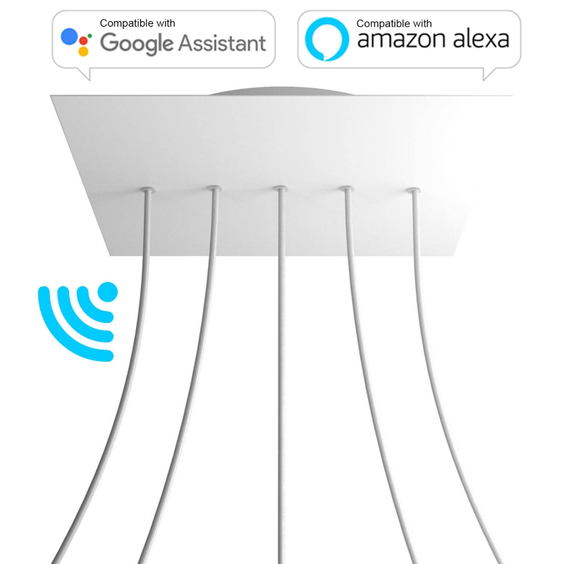 Large Square Smart ceiling canopy, 400 mm Cover Rose-One with 5 in-line holes - compatible with voice assistants