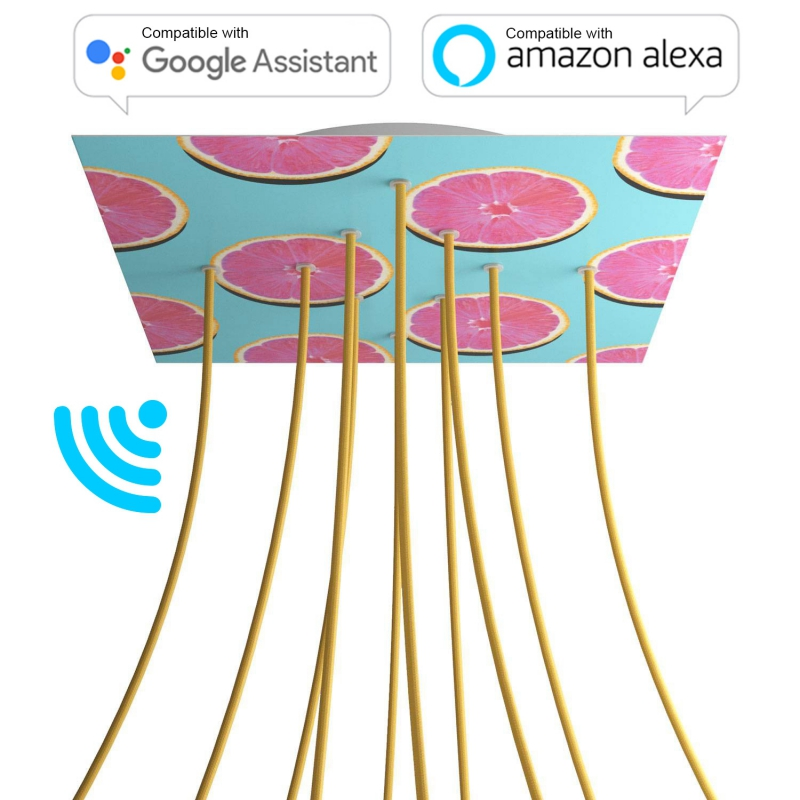 Large Square Smart ceiling canopy, 400 mm Cover Rose-One with 10 holes - compatible with voice assistants