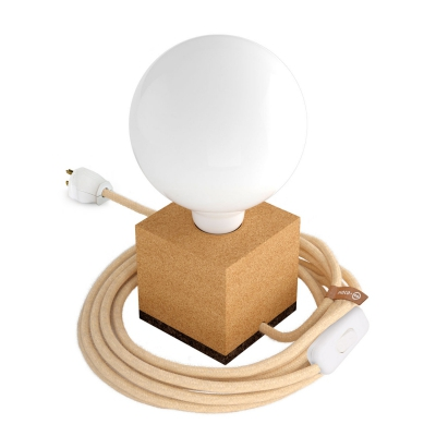 MoCo Cork Cubetto Posaluce - The Cork Table Lamp - Jute Color Cord (RN06)