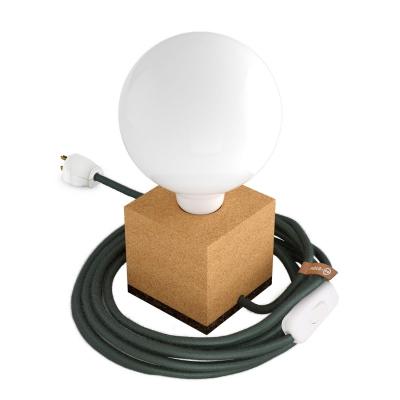 MoCo Cork Cubetto Posaluce - The Cork Table Lamp - Gray/Green Color Cord (RC63)