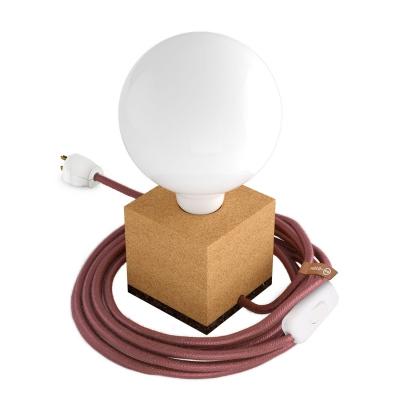 MoCo Cork Cubetto Posaluce - The Cork Table Lamp - Marsala Color Cord (RX11)
