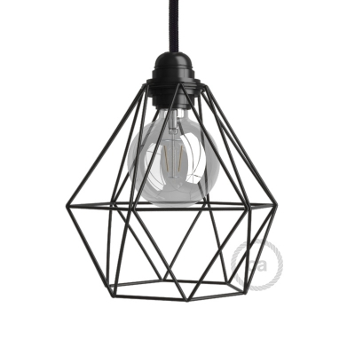 Naked light bulb cage metal lampshade Diamond with E26 fitting