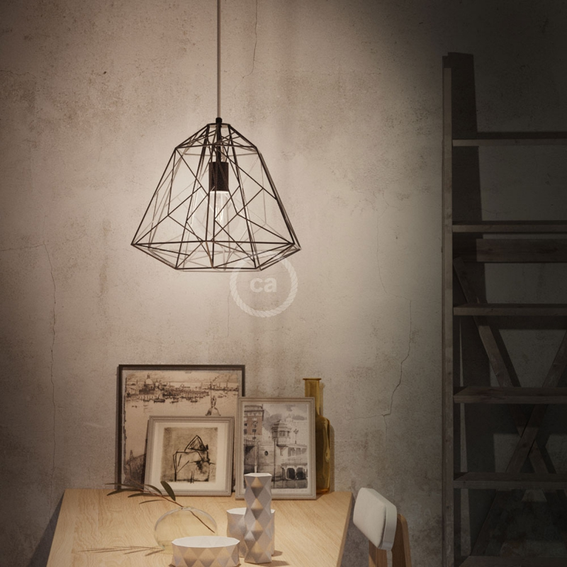 Apollo XL naked cage metal Lampshade with E26 socket