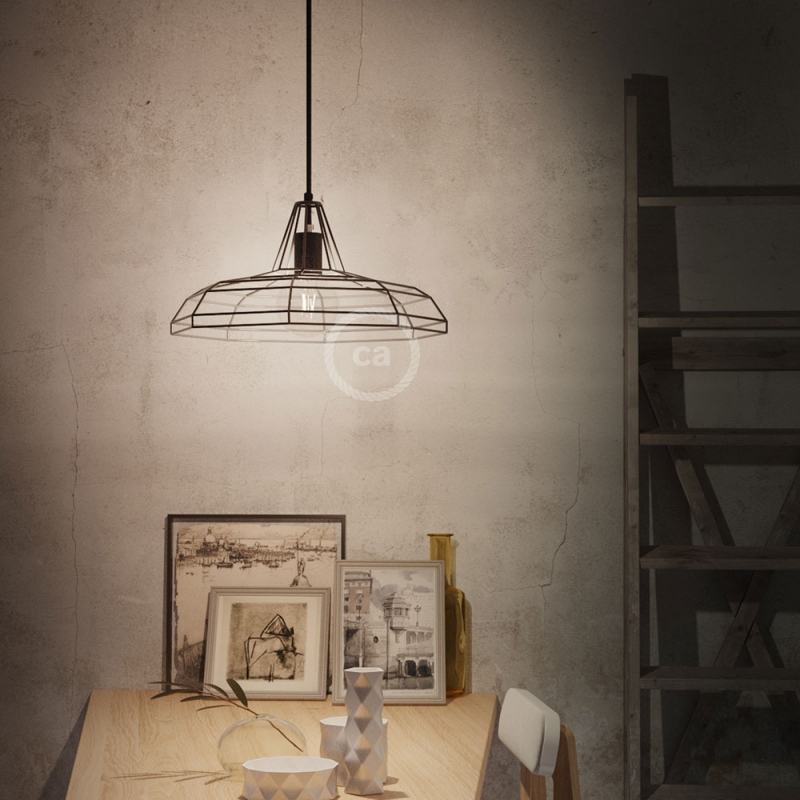 Sonar XL naked cage metal Lampshade with E26 socket