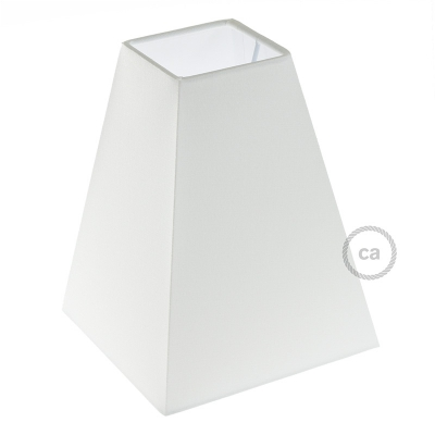 Squared pyramid fabric lampshade with E26 fitting, 16x16 cm h20 cm - 100% Made in Italy