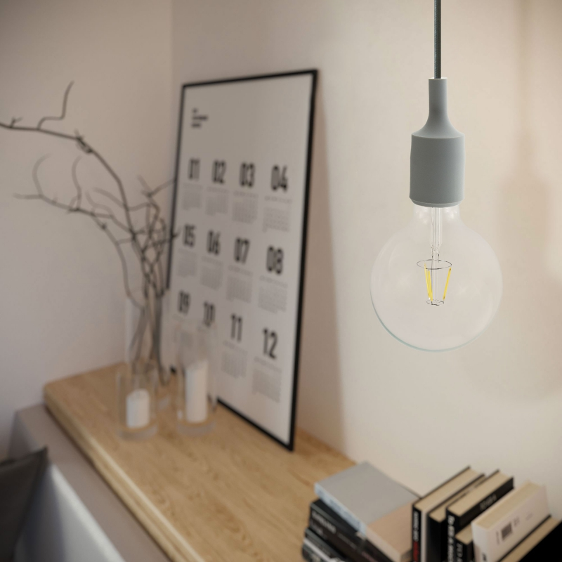 Pendant lamp with textile cable and silicone details