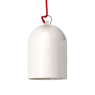 Pendant lamp with textile cable and lampshade Mini Bell XS ceramic shade