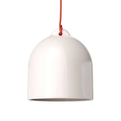 Pendant lamp with textile cable and lampshade Bell M in ceramic