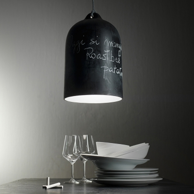 Pendant lamp with textile cable and Bell XL ceramic lampshade