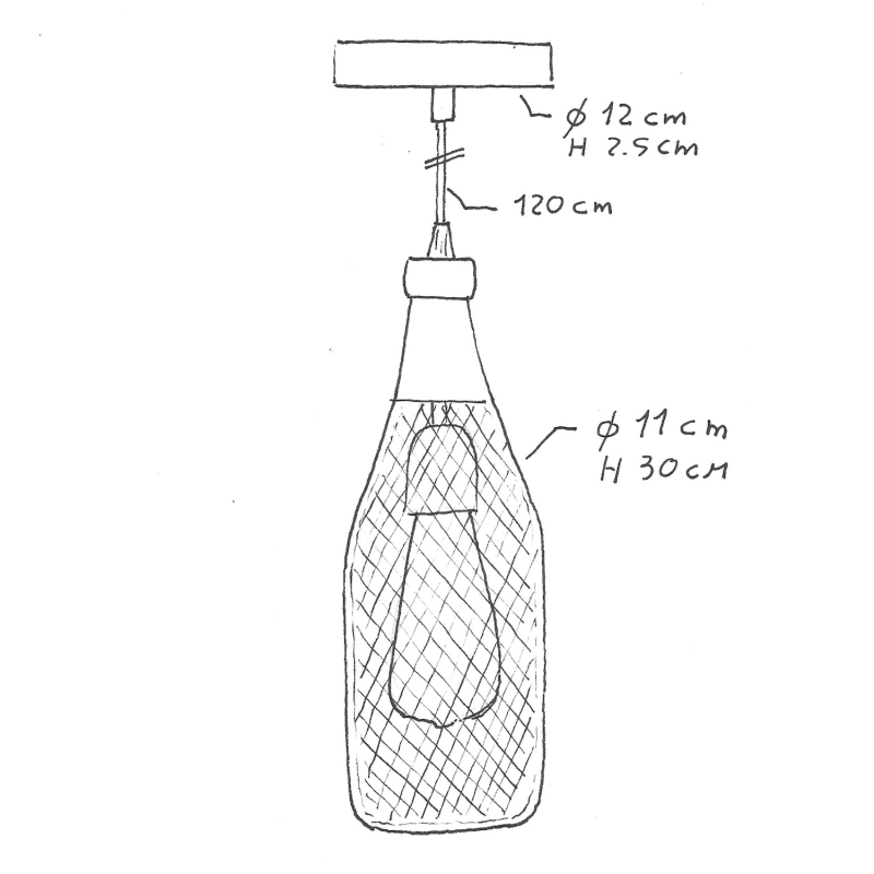 Pendant lamp with textile cable, Magnum bottle lampshade and metal details