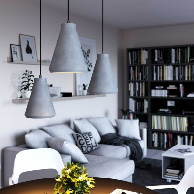 Pendant lamp with textile cable, Funnel cement lampshade and metal details