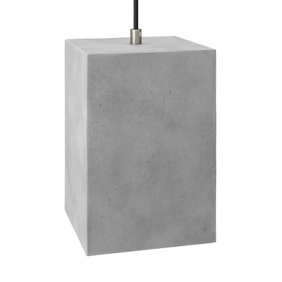 Pendant lamp with textile cable, Cube cement lampshade and metal finishes
