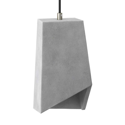 Pendant lamp with textile cable, Prisma cement lampshade and metal finishes