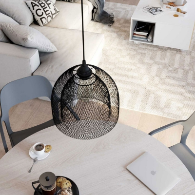 Pendant lamp with textile cable, Ghostbell XL cage lampshade and metal details