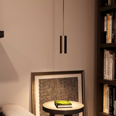 Pendant lamp with textile cable, Tub-E12 lampshade and metal details