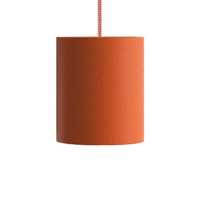 Pendant lamp with textile cable, Cylinder fabric lampshade and metal details