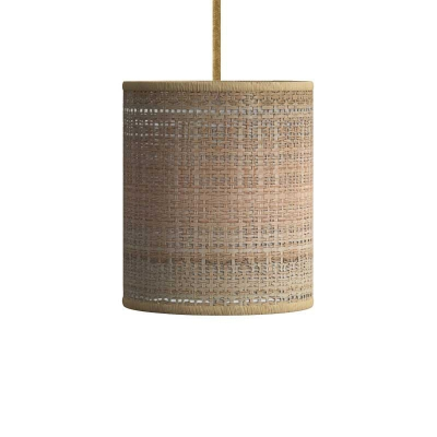 Pendant lamp with textile cable, raffia Cylinder lampshade and metal details
