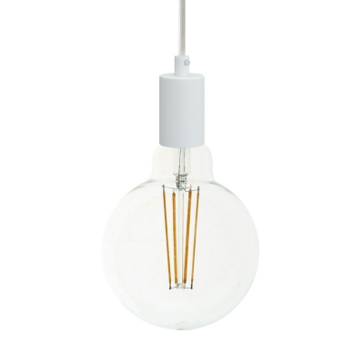 Pendant lamp with textile cable and monochrome metal details