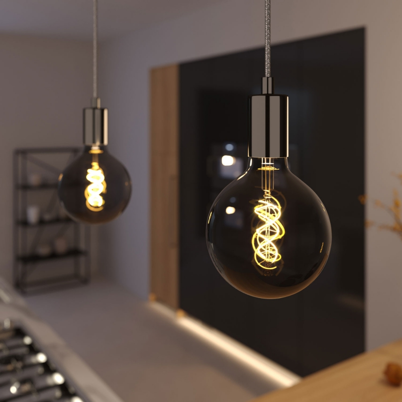 Pendant lamp with textile cable and metal details
