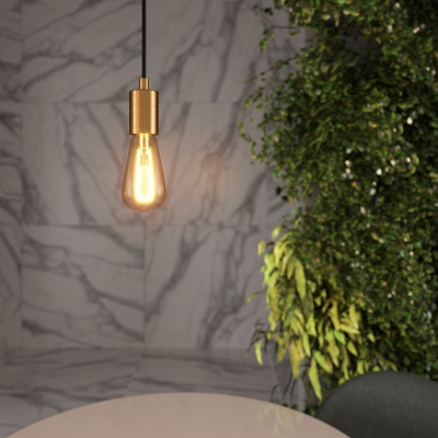 Pendant lamp with textile cable and satin metal details